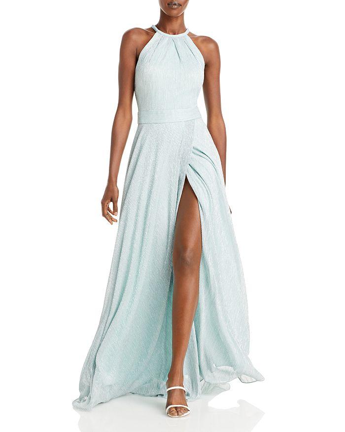 AQUA - Metallic Crinkled Gown - 100% Exclusive