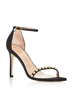 Stuart Weitzman Women\\\'s Amelina Faux Pearl Square Toe Stiletto Heel Sandals - 100% Exclusive