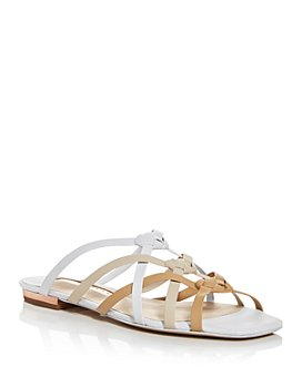 Sophia Webster - Women's Ramona Tan & White Woven Strap Flat Sandals