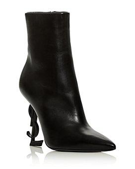 Saint Laurent - Women's Opyum YSL Logo Pointed Toe High Heel Booties
