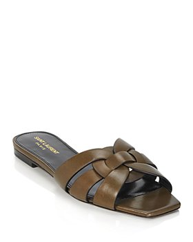 Saint Laurent - Women's Tribute Croc Embossed Slide Sandals