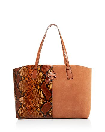 Tory Burch - McGraw Snake-Embossed Leather & Suede Tote
