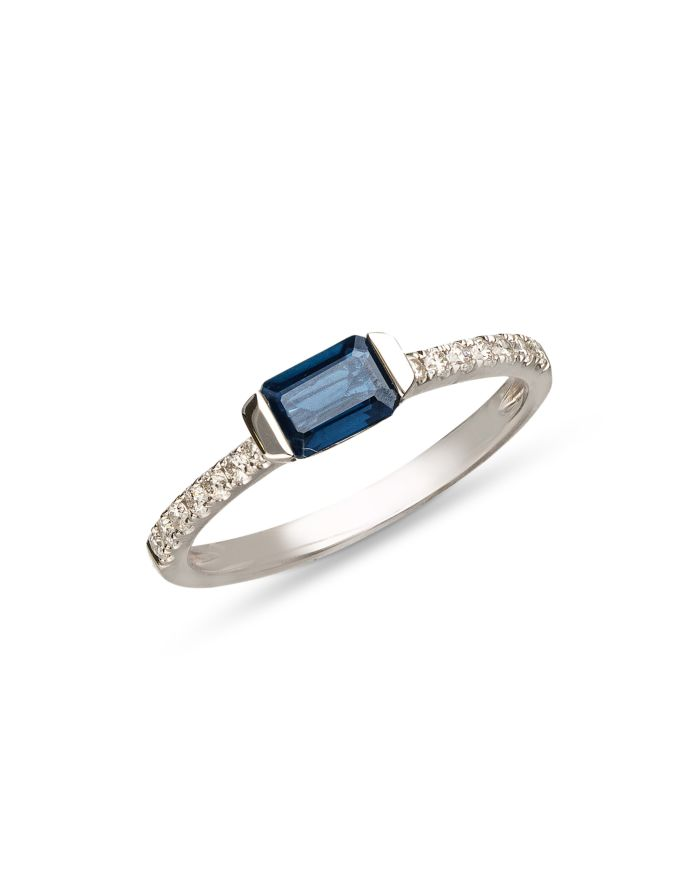 Bloomingdale's Blue Sapphire & Diamond Ring in 14k White Gold - 100% Exclusive  | Bloomingdale's