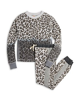 Vintage Havana - Girls' Leopard Print Fleece Crewneck Top & Jogger Pants - Big Kid