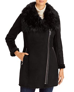Calvin Klein - Asymmetric Faux Fur Trim Coat