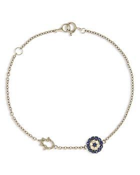 Bloomingdale's - Blue Sapphire & Diamond Evil Eye & Hamsa Hand Link Bracelet in 14K White Gold - 100% Exclusive