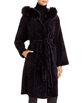 Maximilian Furs - Reversible Shearling Coat with Fox Fur Trim