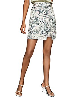 REISS - Amy Printed Front Overlap Skirt