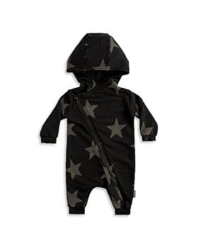 NUNUNU - Boys' Asymmetrical Zip Hooded Star Print Coverall - Baby