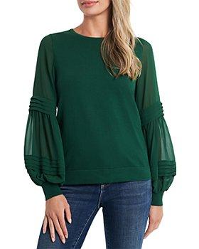 CeCe - Puff Sleeve Mix Media Sweater