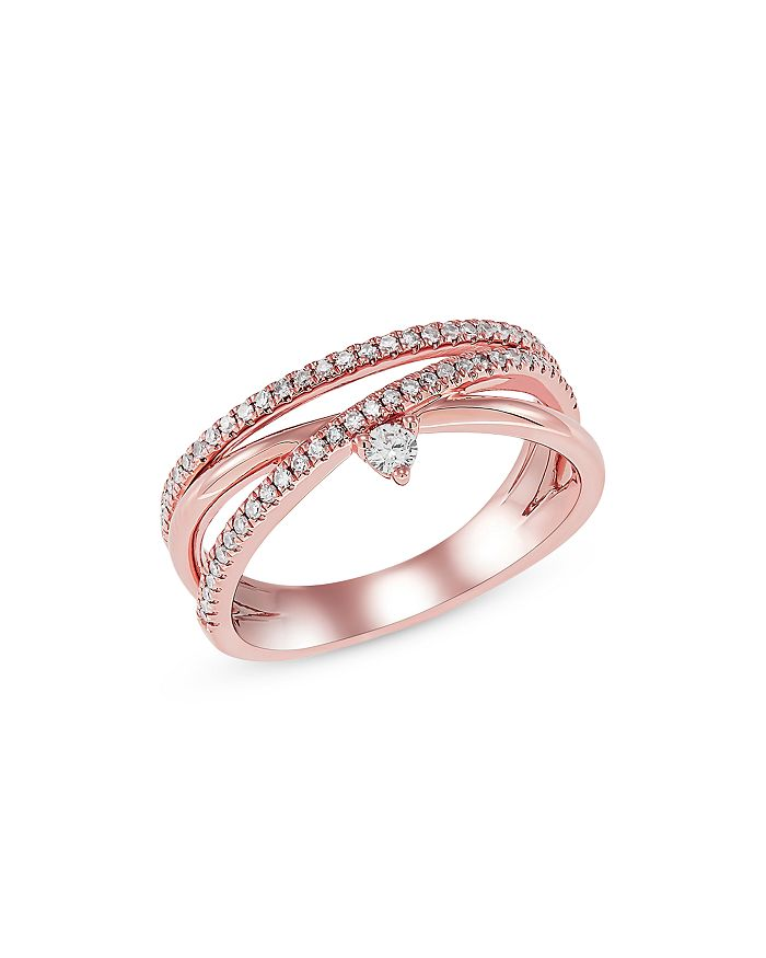 Bloomingdale's - Diamond Crossover Ring in 14K Rose Gold, 0.25 ct. t.w - 100% Exclusive
