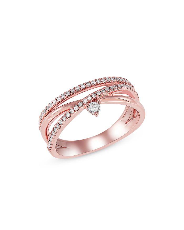 Bloomingdale's Diamond Crossover Ring in 14K Rose Gold - 100% Exclusive  | Bloomingdale's