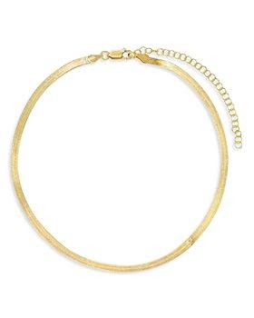 "Adinas Jewels - Herringbone Chain Choker Necklace, 11.5""-14.5"""