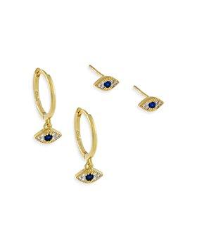 Adinas Jewels - Pavé Evil Eye Earrings, Set of 2