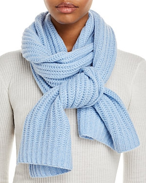 Solid Ribbed Cashmere Scarf