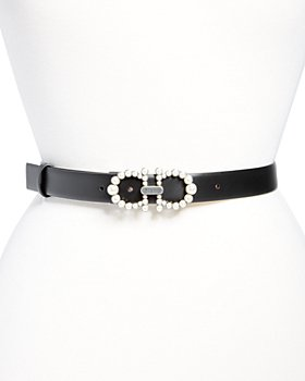 Salvatore Ferragamo - Women's Faux-Pearl Gancini Buckle Leather Belt