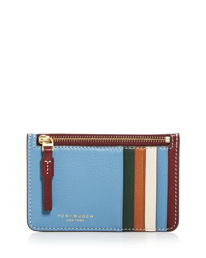 Tory Burch Perry Color Block Zip Card Case In Light Umber/blue Yonder/gold