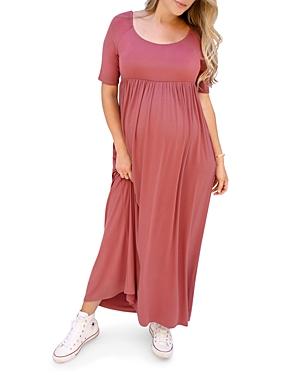 Elbow Sleeve Maxi Maternity Dress Red Ingrid Isabel Dresses Ibt Shop