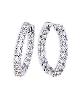 Roberto Coin - 18K White Gold Perfect Diamond Inside Out Medium Hoop Earrings