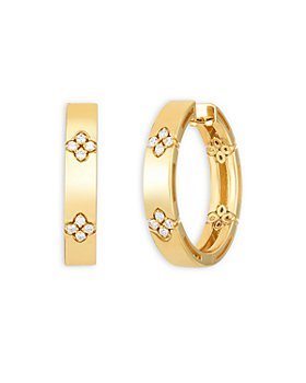 Roberto Coin - 18K Yellow Gold and Diamond Love In Verona Hoop Earrings