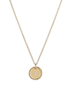"""David Yurman - T Initial Charm Necklace with Diamonds in 18K Gold, 16-18"""""""