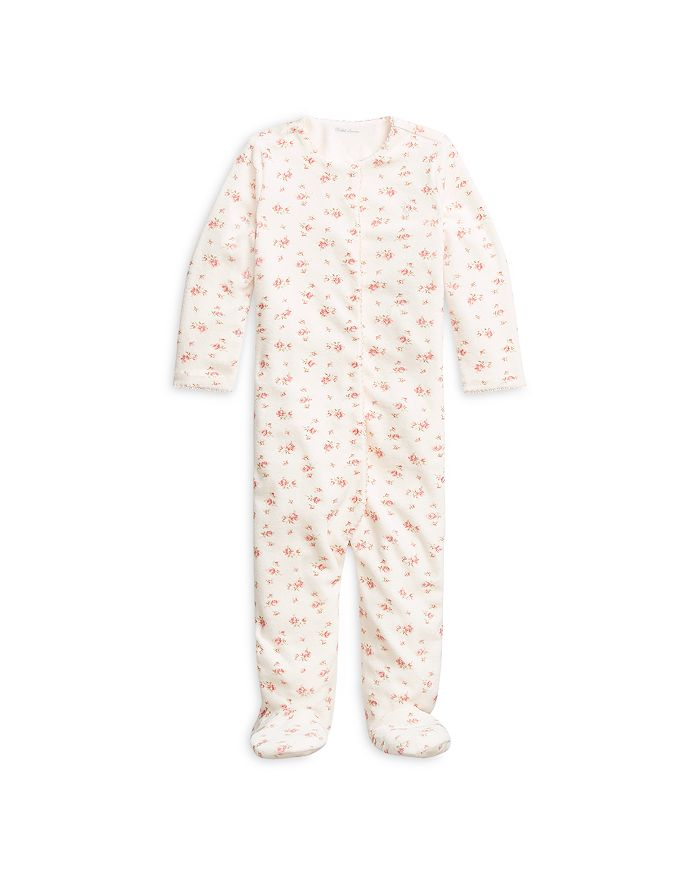 Ralph Lauren - Girls' Floral Print Velour Footed Coverall - Baby