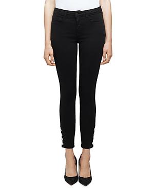 L\\\'Agence Lindsey Rhinestone Skinny Jeans in Noir-Women