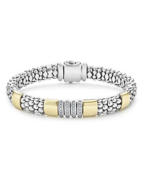 LAGOS - Sterling Silver & 18K Yellow Gold Caviar Diamond Link Bracelet