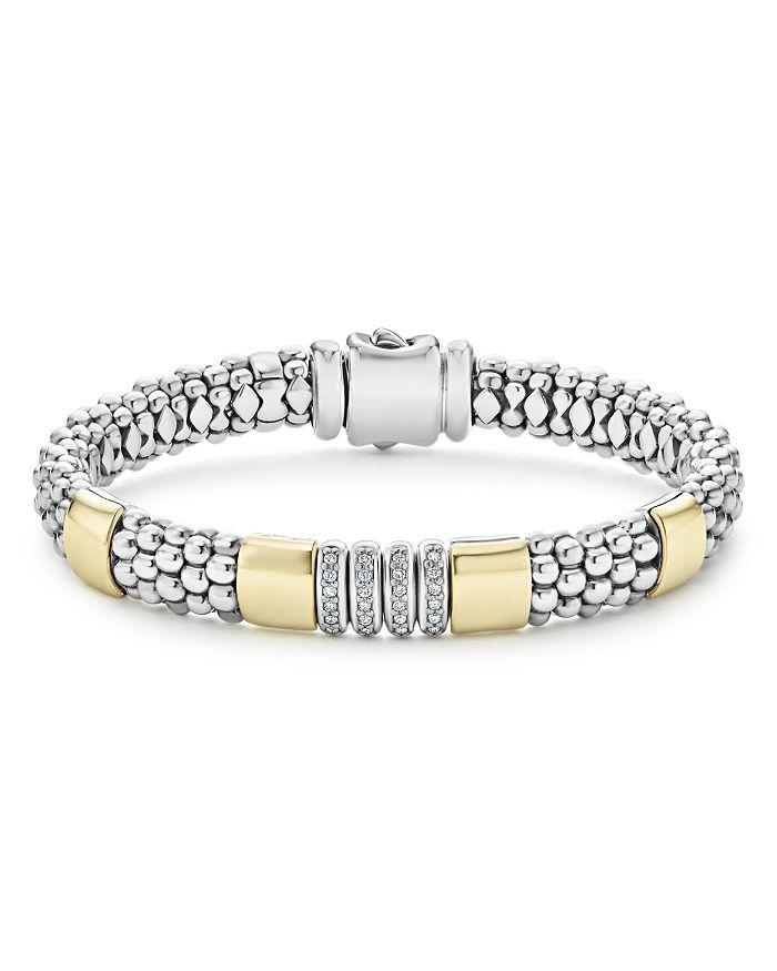 LAGOS - Sterling Silver & 18K Yellow Gold Caviar Diamond Link Bracelet - 100% Exclusive