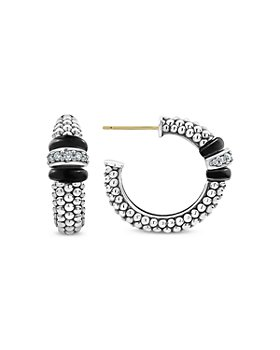 LAGOS - Sterling Silver Black Caviar Diamond & Black Ceramic Hoop Earrings