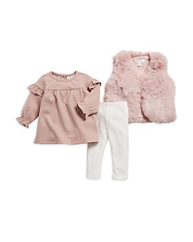 Miniclasix - Girls' Faux Fur Vest, Sparkle Knit Top & Leggings Set - Baby