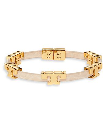 Tory Burch - Serif-T Embossed Leather Stack Bangle Bracelet