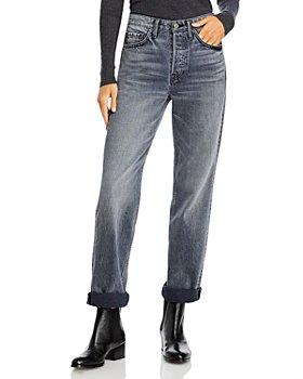 GRLFRND - Mica Cuffed Straight Leg Jeans in Black Smoke