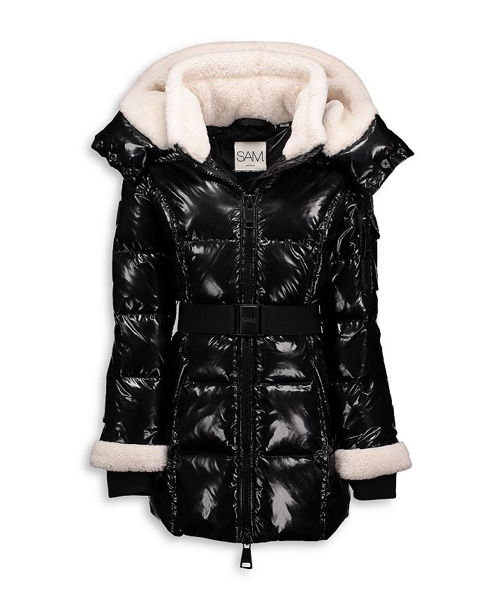 SAM. - Girls' Soho Down Shearling Trim Coat - Big Kid