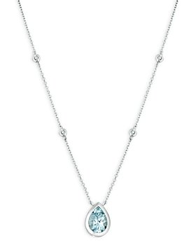 "Bloomingdale's - Aquamarine and Diamond Pear-Shaped Pendant Necklace in 14K White Gold, 16"" - 100% Exclusive"
