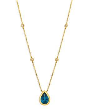 """Bloomingdale's - Blue Topaz and Diamond Pear-Shaped Pendant Necklace in 14K Yellow Gold, 16"""" - 100% Exclusive"""