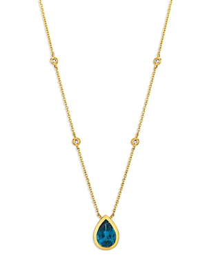 Blue Topaz and Diamond Pear-Shaped Pendant Necklace in 14K Yellow Gold, 16 - 100% Exclusive