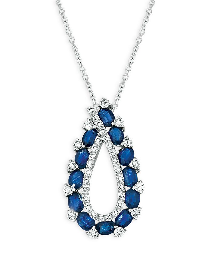 """Bloomingdale's - Sapphire and Diamond Open Teardrop Pendant Necklace in 14K White Gold, 16"""" - 100% Exclusive"""