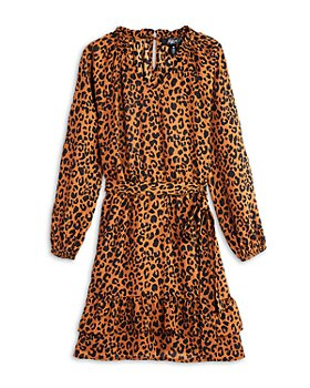 AQUA - Girls' Tiered Leopard Print Woven Dress, Big Kid - 100% Exclusive
