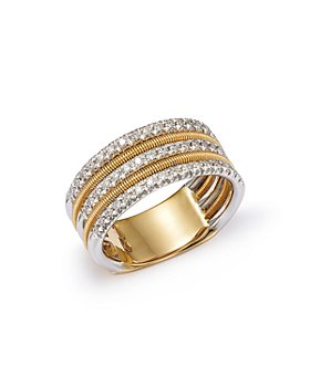 Marco Bicego - Diamond Multi-Row Band Ring in 18K White & Yellow Gold, 0.38 ct. t.w. - 100% Exclusive