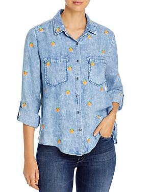 Embroidered Button Front Shirt
