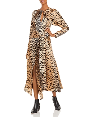Rebecca Taylor Silk Leopard Tie Dress-Women