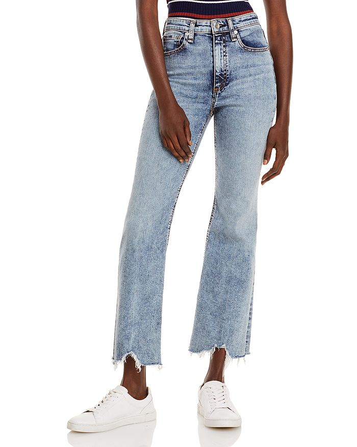 rag & bone - Nina High-Rise Flare Frayed Ankle Jeans