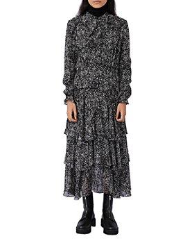 Maje - Ruffo Printed Ruffled Maxi Dress
