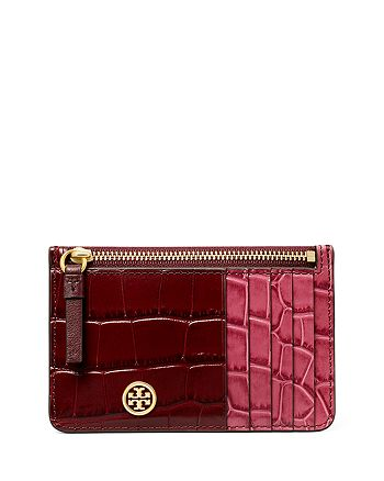 Tory Burch - Robinson Color Blocked Embossed Leather Card Case