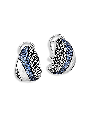 John Hardy Sterling Silver Classic Blue Sapphire Chain Curved Hoop Earrings-Jewelry & Accessories