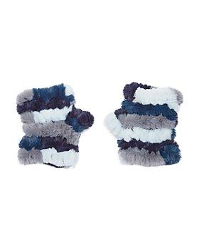 Jocelyn - Mandy Color Blocked Faux Fur Knit Mittens