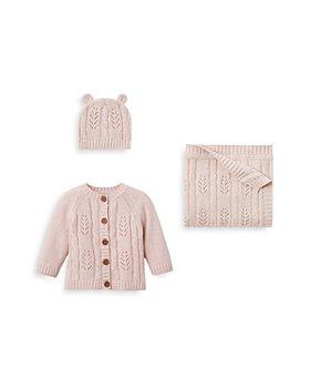 Elegant Baby - Girls' Leaf Knit Hat, Blanket & Cardigan Set - Baby