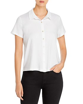 Eileen Fisher Petites - Classic Knit Button Front Top