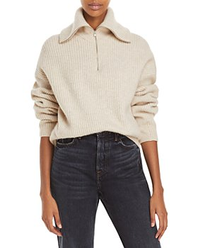 Vince - Half Zip Ribbed Wool & Cashmere Sweater